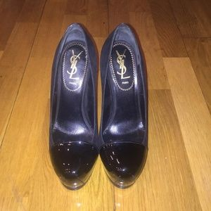 Black Tribute Ysl Tribtoo Patent Cap-toe Pumps